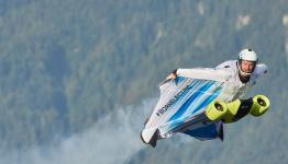 Austrian skydiver Peter Salzmann tests BMW's 300 km/h electric wingsuit